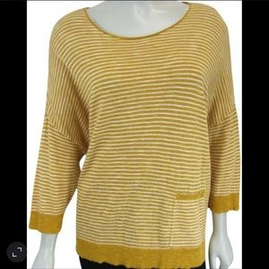 Eileen Fisher yellow & white striped linen top